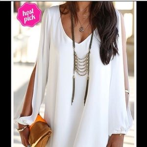 Dresses & Skirts - White open sleeve minidress